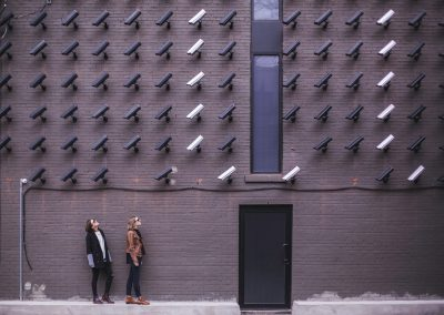 two person standing under lot of bullet cctv camera 374103